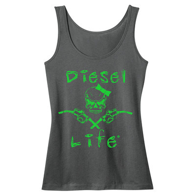 Diesel Life Women's Lady Skull & Pumps Tank - Charcoal with Neon Green Imprint