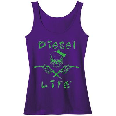 Diesel Life Women's Lady Skull & Pumps Tank - Purple with Green Imprint
