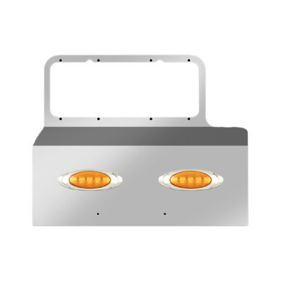 Headlight Mount Fender Guard with 2 P1 LED/Amber Lens Style Lights for Peterbilt 379