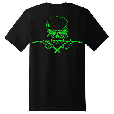 Diesel Life Skull & Pumps Short Sleeve T-Shirt - Black with Neon Green Imprint
