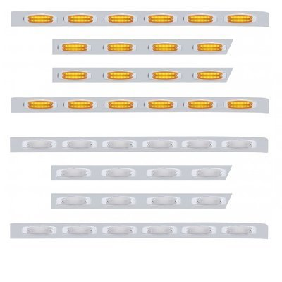 Peterbilt Stainless Steel Cab/Sleeper Panel with 20 x 12 LED Lights and Reflectors with Amber or Clear Lens- Kit