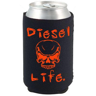 Diesel Life Skull Koozie Black with Orange Imprint