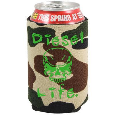Diesel Life Skull Koozie Green Camo with Green Imprint