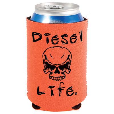 Diesel Life Skull Koozie Orange with Black Imprint
