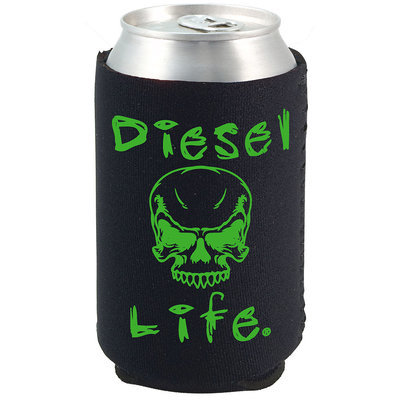 Diesel Life Skull Koozie Black with Green Imprint