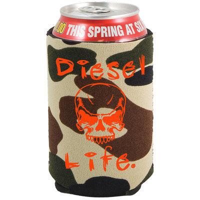 Diesel Life Skull Koozie Green Camo with Orange Imprint