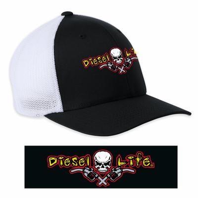 OSFA Diesel Life Black / Full Color Logo Trucker Hat Flex Fit