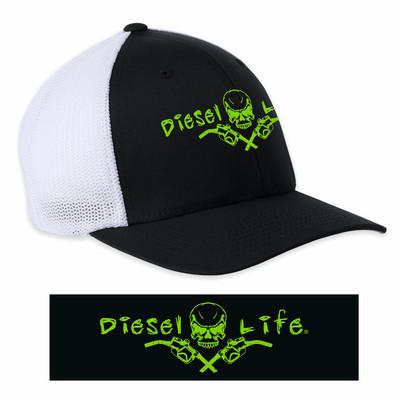 OSFA Diesel Life Black / Green Trucker Hat Flex Fit
