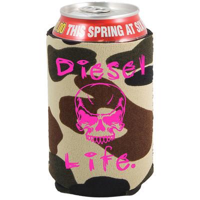 Ladies Diesel Life Skull Koozie Green Camo with Pink Imprint
