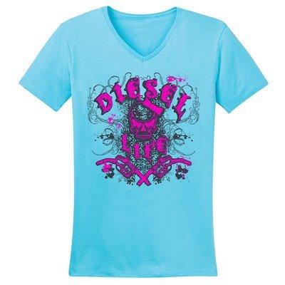 Diesel Life Women's Distressed Splatter V-Neck - Tahiti with Pink Imprint