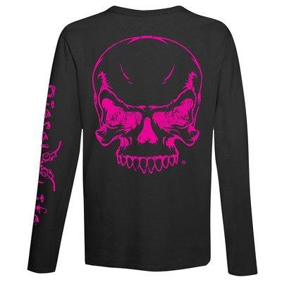 Diesel Life Women's Full Skull Long Sleeve T-Shirt - Black with Pink Imprint