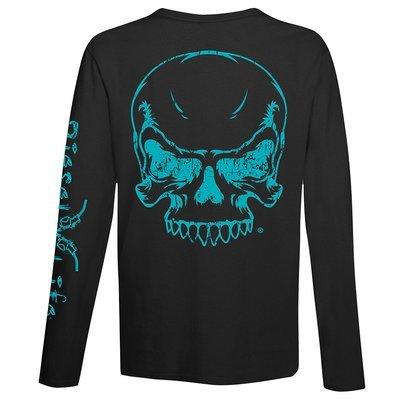 Diesel Life Women's Full Skull Long Sleeve T-Shirt - Black with Teal Imprint