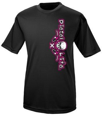 Ladies Dri-Fit Short Sleeve with Diesel Life logo - Black/Pink