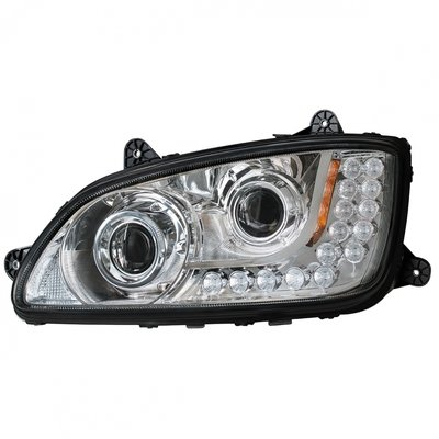 Chrome Projection Headlight w/ LED Turn Signal for Kenworth T660/T440/T470
