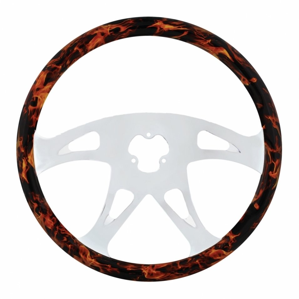 Flame Steering Wheel Hydro Dip Wood Finish