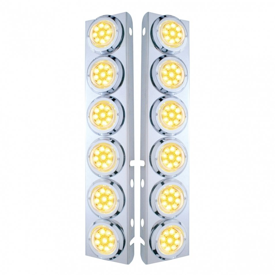 Peterbilt Air Cleaner Bracket Reflector Lights & Bezels - Amber LED/Clear Lens