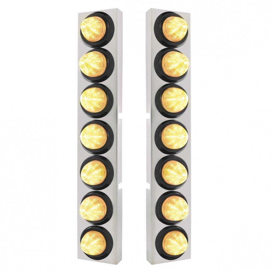 Kenworth Air Cleaner Bracket w/ 14 LED Lights & Grommets - Amber LED/Clear Lens