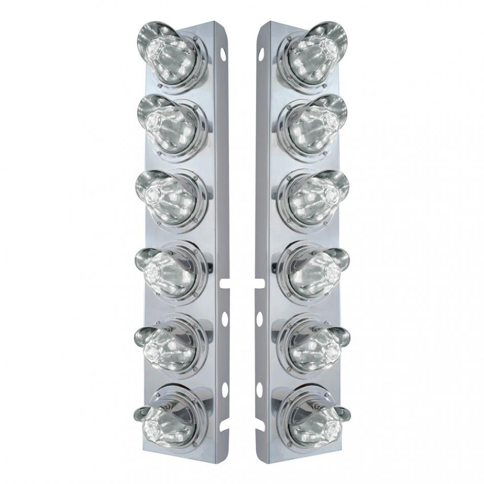 Peterbilt Air Cleaner Bracket w/ 12 LED Lights & Visors -Amber LED/Clear Lens