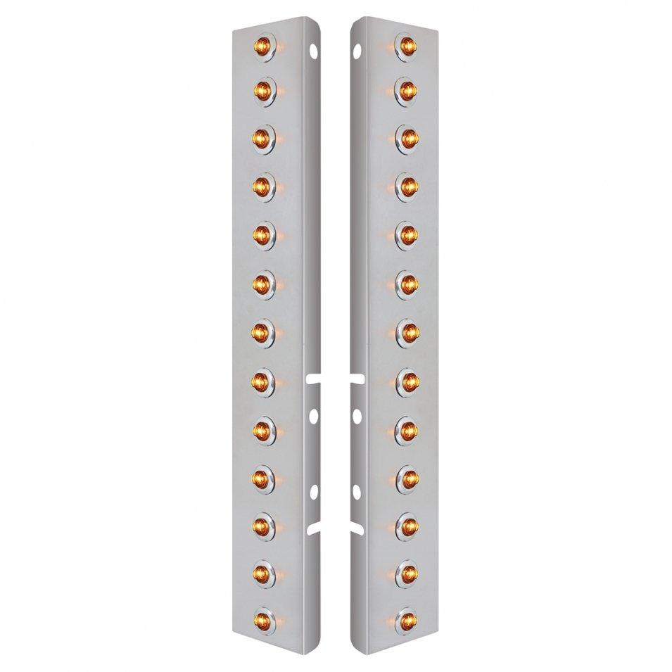 Peterbilt Air Cleaner Bracket 2 LED Mini Lights & Bezels - Amber LED/Amber Lens