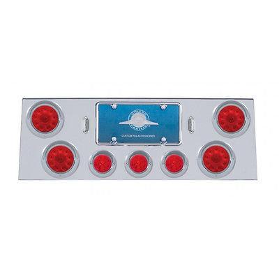 Rear Panel 4 Flat Red LED & 3 Beehive Red LED Lights & Visors- Red Lens