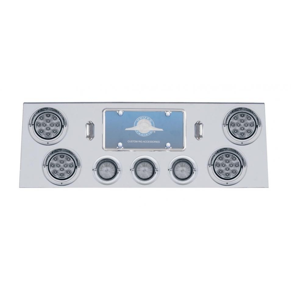 Rear Center Panel w/ Four 12 LED & Three 13 LED 2 Lights & Visors - Clear Lens