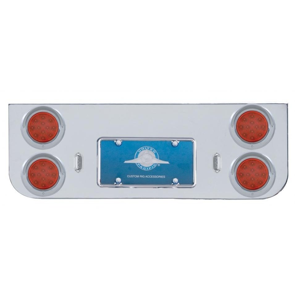 Rear Center Panel w/ Four 12 LED Reflector Lights & Visors - Red LED/Red Lens
