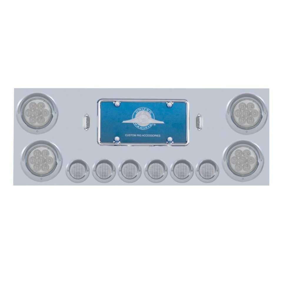 Stainless Rear Center Panel w/ 7 LED Lights & Visors - Red LED/Clear Lens