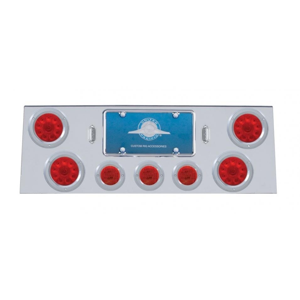 Stainless Rear Center Panel w/ 10 LED Lights & Bezels - Red LED/Red Lens