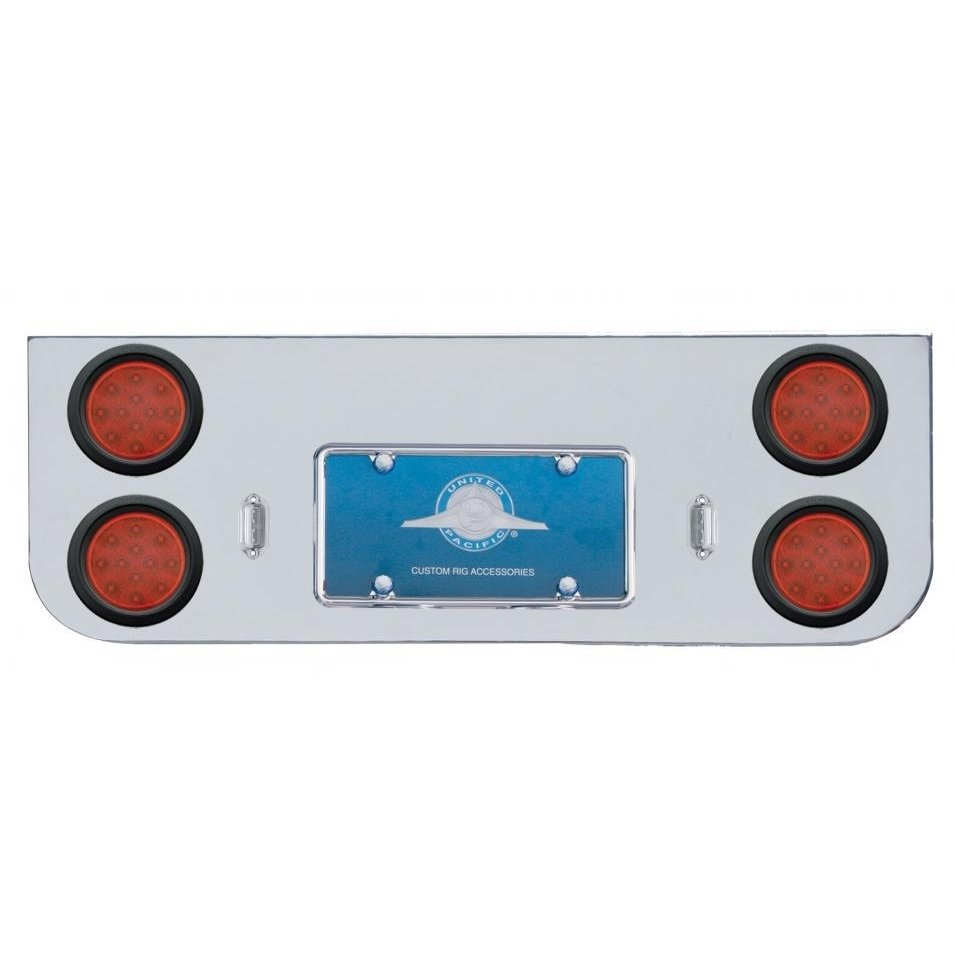 Rear Center Panel w/ Four 12 LED Reflector Lights & Grommets - Red LED/Red Lens