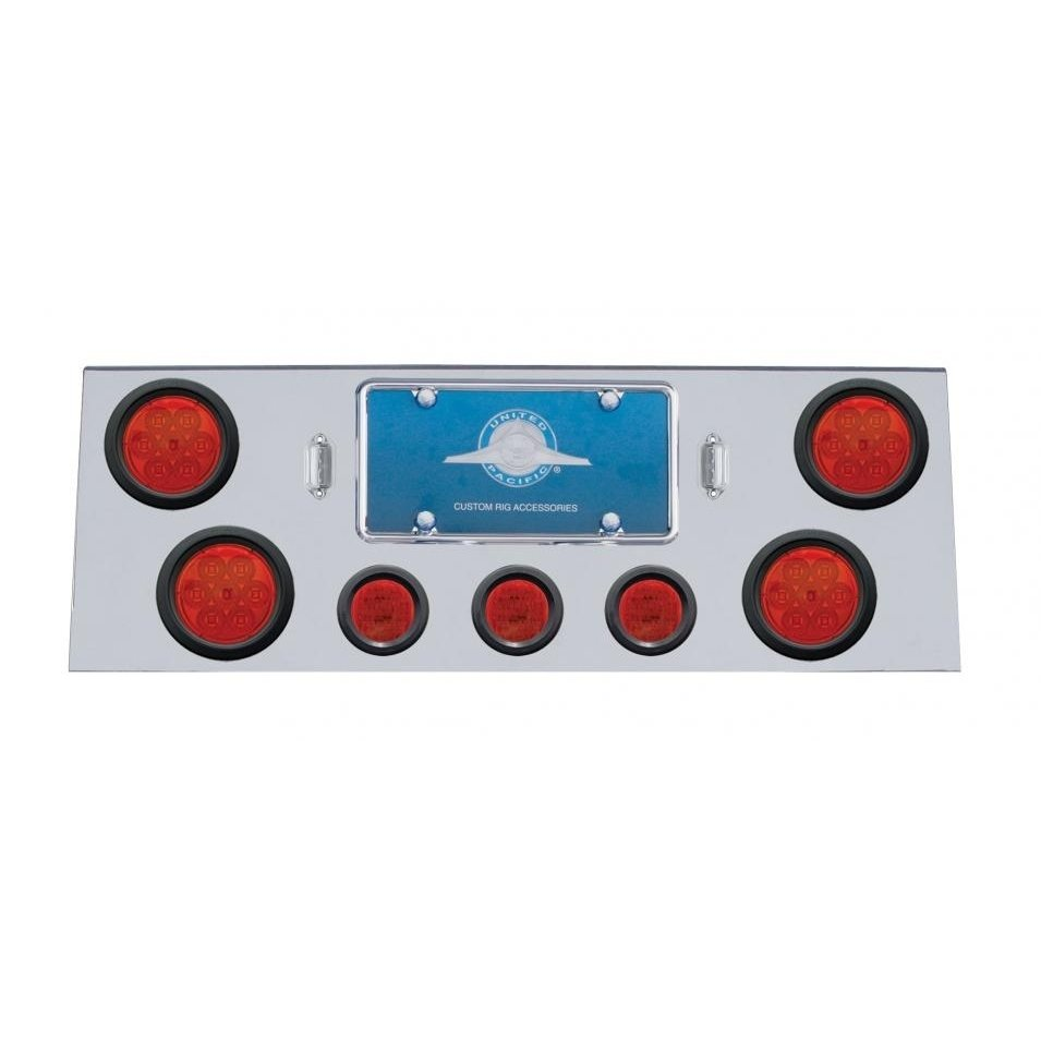 Rear Center Panel w/ Four 7 LED Reflector Lights & Grommets - Red LED/Red Lens