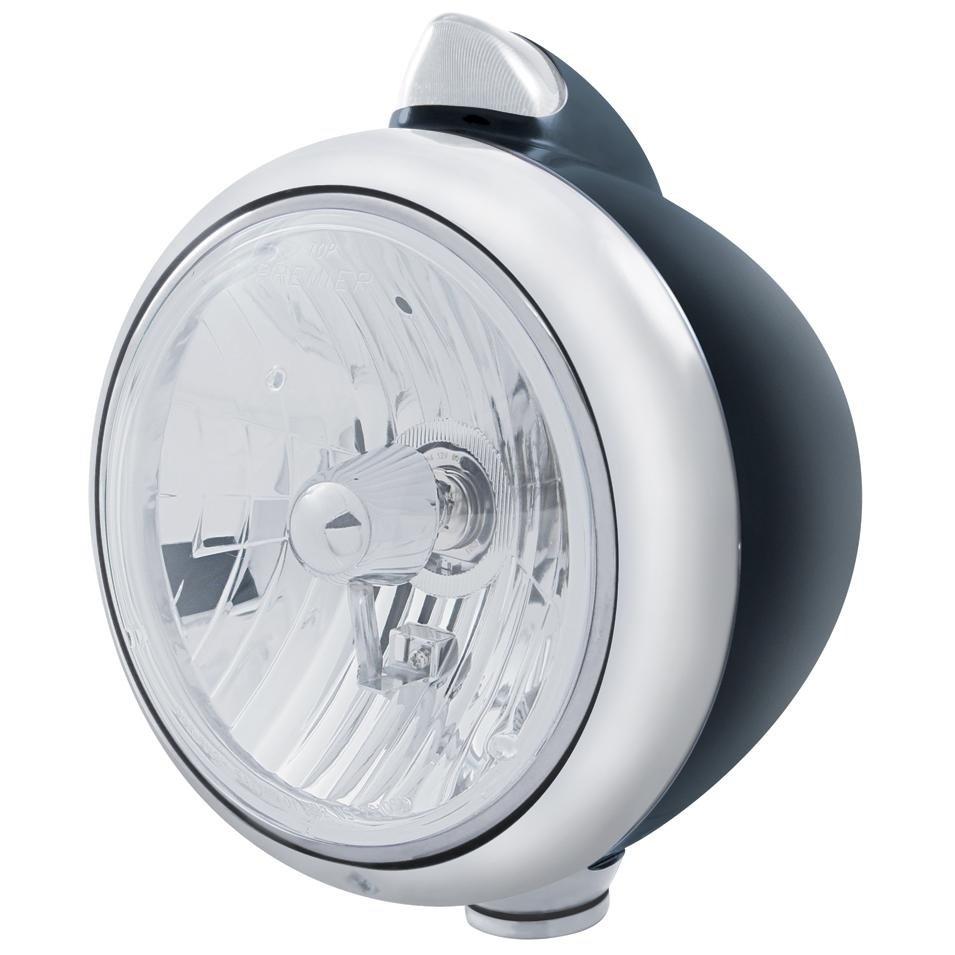 Black Guide Headlight Crystal H4 Bulb & Dual Turn Signal - Amber LED/Clear Lens