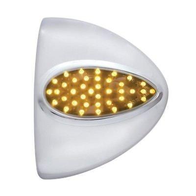 Peterbilt Teardrop Headlight Turn Signal Cover, 39 Diodes -Amber LED/Chrome Lens