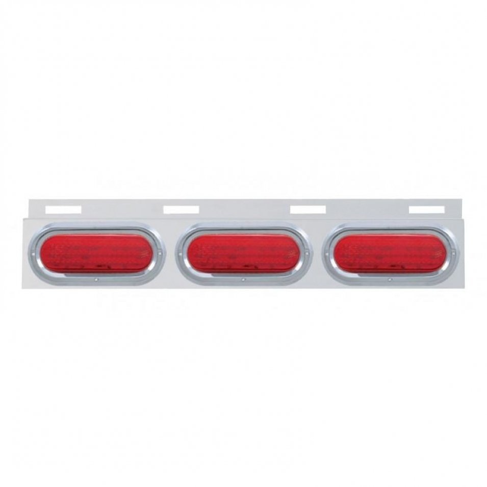 Stainless Top Mud Flap Plate w/ Three 60 LED Lights & Visor - Red LED/Red Lens