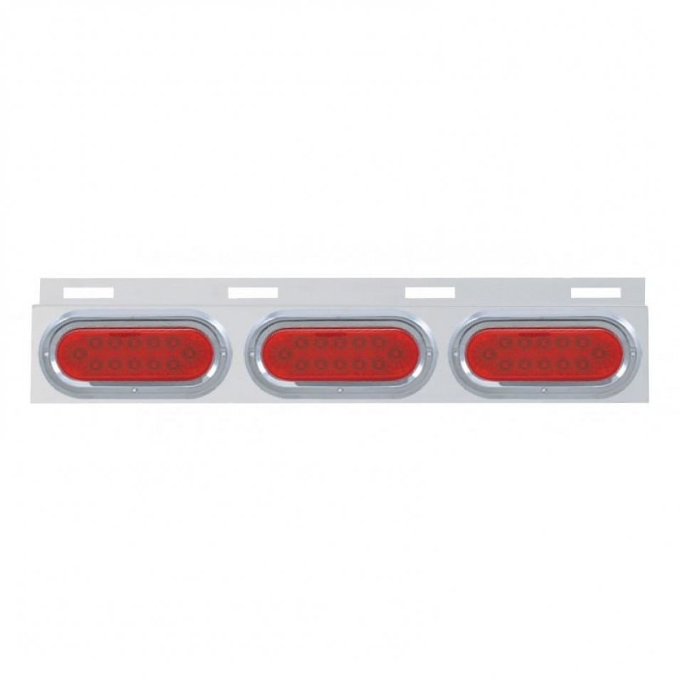 Stainless Top Mud Flap Plate w/ Three 12 LED Lights & Visor - Red LED/Red Lens