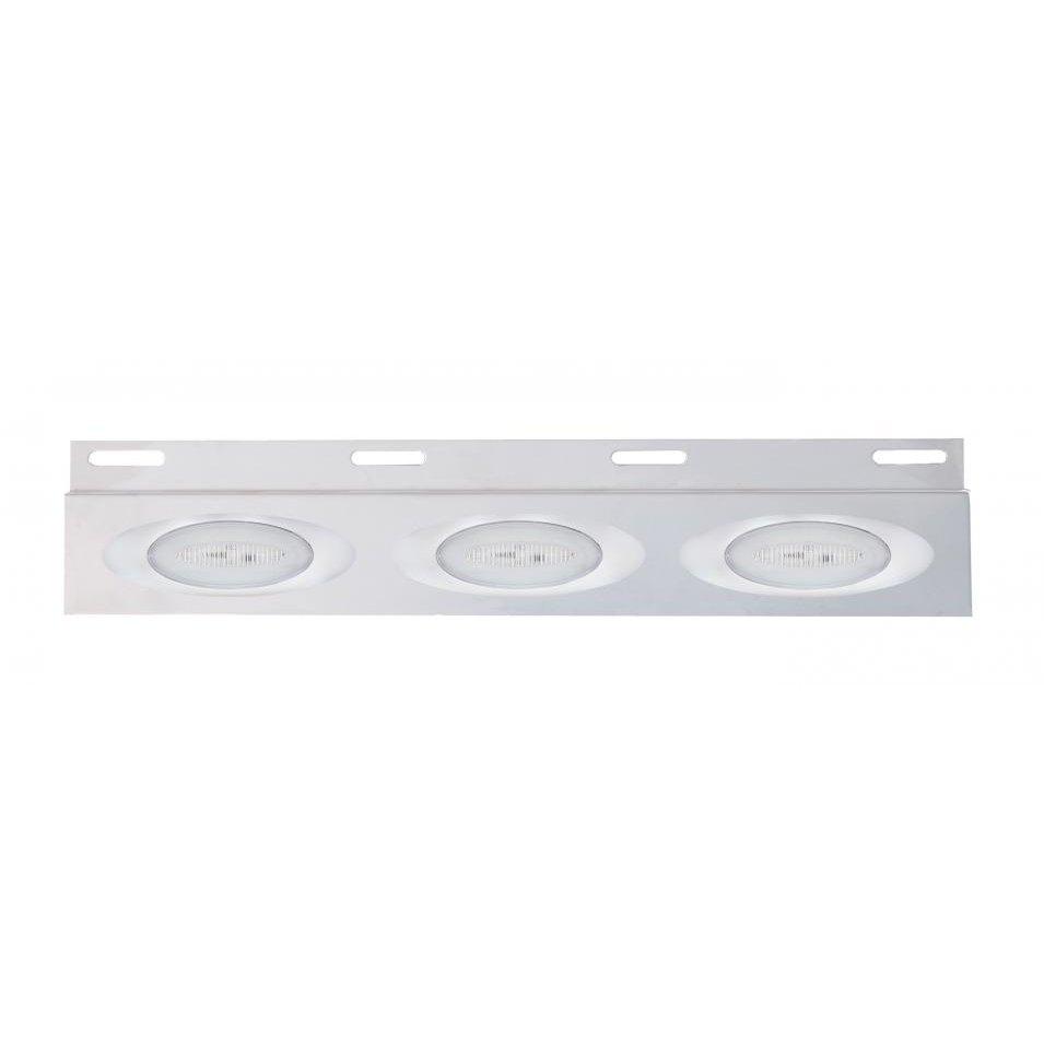 Top Mud Flap Plate w/ Three 13 LED Millenium Lights - Amber LED/Clear Lens