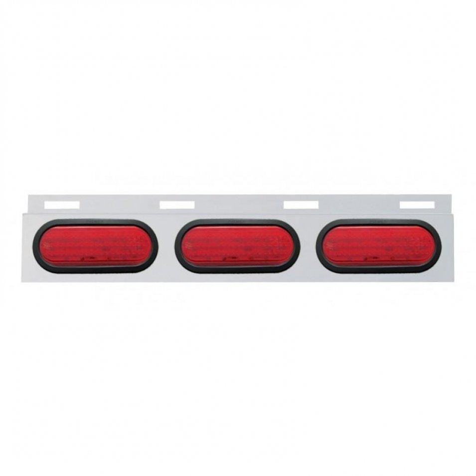 Stainless Top Mud Flap Plate Three 60 LED Lights & Grommet - Red LED/Red Lens