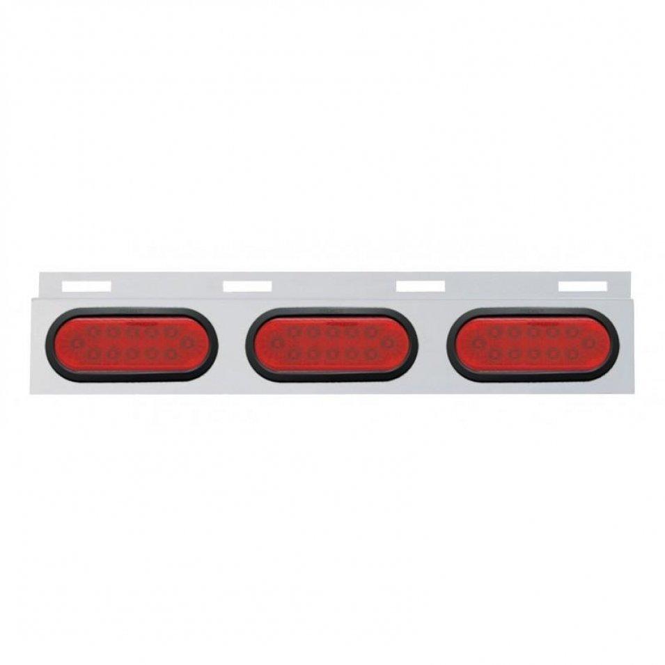 Stainless Top Mud Flap Plate Three 12 LED Lights & Grommet - Red LED/Red Lens