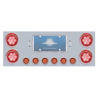 Stainless Rear Center Panel w/ 7 LED Lights & Visors - Red LED/Red Lens