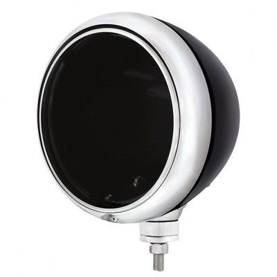 GUIDE Peterbilt Style Old School Headlight Housing, Black, Chrome Rim
