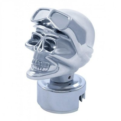 Chrome Skull Biker 13/15/18 Speed Gearshift Knob w/ Adapter