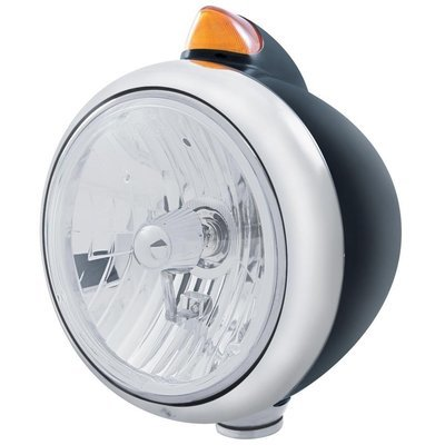 Black Guide Headlight Crystal H4 Bulb and Dual Turn Signal - Amber LED/Amber Lens