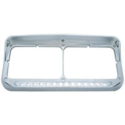 Dual Headlight Bezel w/ Visor, 14 LED Light Bar, Chrome - White LED/Clear Lens