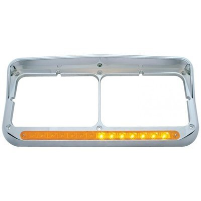 Sequential LED Dual Headlight Bezel w/ Visor (Driver) - Amber LED/Amber Lens