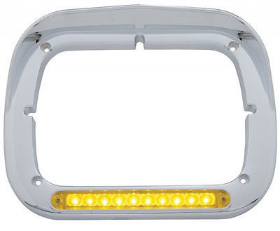 Single Headlight Bezel with Visor - 10 Amber LED with Amber Lens Light Bar