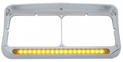 Headlight Visor Bezels, 19 LEDs, Amber for Freightliner Kenworth Peterbilt