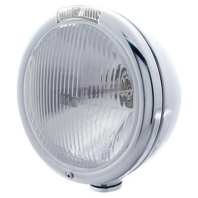 CLASSIC Peterbilt Headlight, H6014 H4 Bulb, SS, Incandescent Turn/Clear Lens
