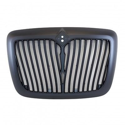 Grille with Bug Screen and Logo Cutout- Black for International ProStar 2008+