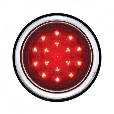 17 LED Chrome Tail Light Assembly w/ Flush Mount Bezel - Red LED/Red Lens