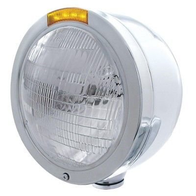 BULLET Half-Moon Headlight, Stainless, 6014 Sealed Bulb - Amber LED/Amber Lens