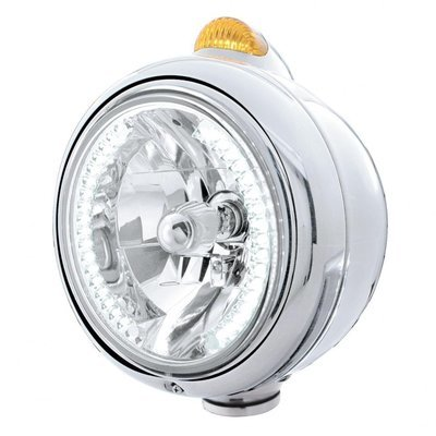 Headlight H4 Bulb w/ LED & Dual Function LED Turn Signal - Amber LED/Amber Lens